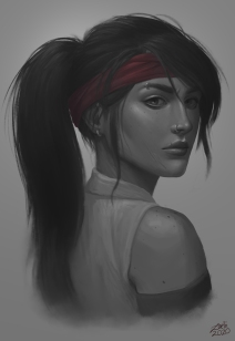 Painting of my rogue character in World of Warcraft